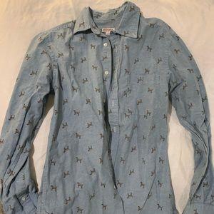 Button up dog print shirt